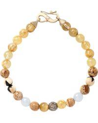 Monique Péan - Natural Rutilated Quartz Woolly Mammoth Scrimshaw Bone Jade Diamond Bead Bracelet - Lyst