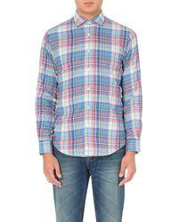 Ralph Lauren   Blue Regular-fit Single-cuff Flannel Shirt, Men's, Size: L, 175 Teal/pink for Men   Lyst