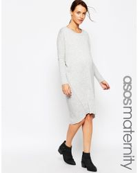 ASOS - Gray Maternity Oversized Jumper Dress - Lyst