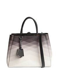 Fendi - Black and Ivory Ombre Pattern Detail 2jours Medium Shopper Tote - Lyst