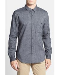 7 For All Mankind | Black Trim Fit Brushed Oxford Sport Shirt for Men | Lyst