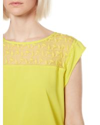 Therapy | Yellow Embroidered Yoke Woven Front Top | Lyst