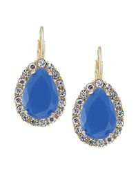 Carolee | Blue 12k Goldplated and Crystal Teardrop Leverback Earrings | Lyst
