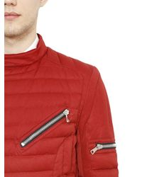 Balmain - Red Quilted Cotton Canvas Moto Down Jacket - Lyst