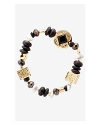 Express - Black Mixed Medallion And Bead Stretch Bracelet - Lyst