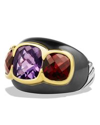 David Yurman | Multicolor Renaissance Three-stone Ring With Amethyst, Garnet & Gold | Lyst