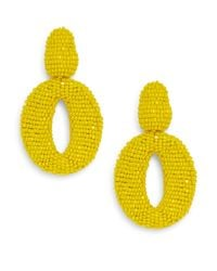 Oscar de la Renta | Yellow Oscar Beaded Oval Drop Clip Earrings | Lyst