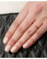 Anna Sheffield | Metallic White Diamond And Rose Gold Tiny New Moon Ring | Lyst