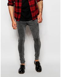 Cheap Monday Jeans Him Spray Super Skinny Fit Fail Black Acid for men