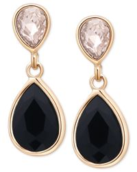 Tahari | T Gold-tone Crystal And Black Stone Drop Earrings | Lyst