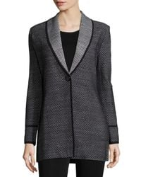 Misook | Black Textured One-button Long Jacket | Lyst