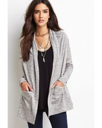 Forever 21 | Gray Marled Knit Hooded Jacket | Lyst