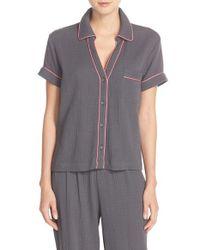 Skin | Gray 'anita' Cotton Gauze Pajama Top | Lyst