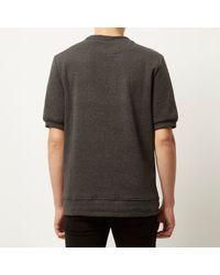 River Island - Gray Grey Short Sleeve Zip Front Sweatshirt for Men - Lyst