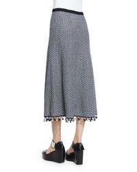 Derek Lam - Blue A-line Crochet Skirt W/fringe Hem - Lyst
