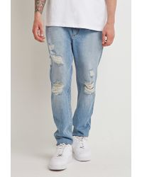 Forever 21 | Blue Destroyed Straight-leg Jeans for Men | Lyst