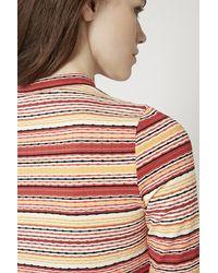 TOPSHOP | Orange Stripe Ribbed Funnel Neck Top | Lyst