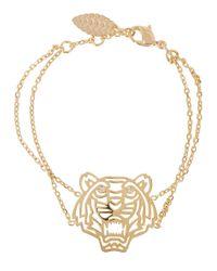 KENZO - Metallic Gold Tone Cut-Out Tiger Bracelet - Lyst