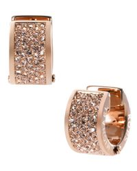 Michael Kors - Metallic Rose Gold Tone And Crystal Huggie Hoop Earrings - Lyst