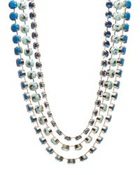 ABS By Allen Schwartz | Blue Multi-row Stone Collar Necklace | Lyst