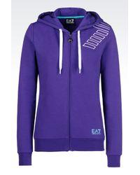 EA7 | Purple 7colours Line Full Zip Hooded Sweatshirt | Lyst