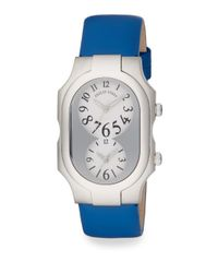 Philip Stein | Signature Stainless Steel Dual Time Zone Blue Leather Strap Watch | Lyst