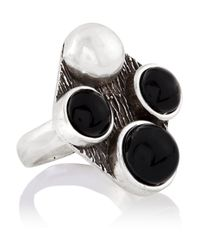 Saint Laurent | Metallic Patti Silver Onyx Ring | Lyst