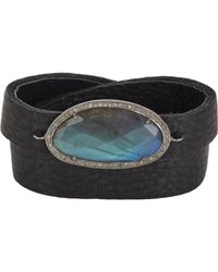 Feathered Soul | Black Diamond, Labradorite & Leather Wrap Bracelet | Lyst