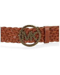 MICHAEL Michael Kors | Brown Signature Accented Braided Leather Belt | Lyst