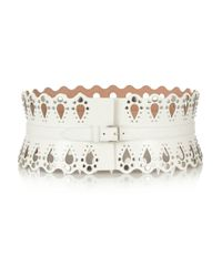 Alaïa | White Studded Laser-Cut Leather Belt | Lyst