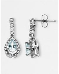 Lord & Taylor | Blue 14 Kt. White Gold Aqua And Diamond Drop Earrings | Lyst