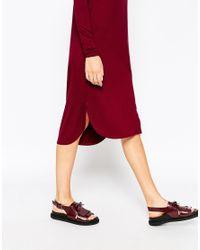 ASOS | Purple Midi Dress With Curved Hem | Lyst