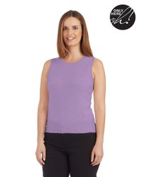 Lord & Taylor | Purple Cashmere Scoop Neck Tank Sweater | Lyst