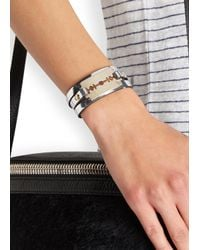 McQ - Metallic Silver Razor Leather Wrap Bracelet - Lyst