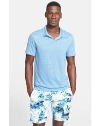 Onia - Blue 'Shaun' Linen Polo for Men - Lyst