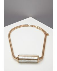 Forever 21 - Metallic Faux Stone Pendant Statement Necklace - Lyst