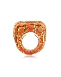 MM6 by Maison Martin Margiela - Multicolor Logo Detail Copper Women'S Ring - Lyst