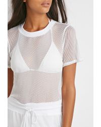 Forever 21 | White Mesh Drawstring Waist Dress | Lyst