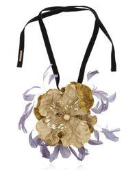 Dries Van Noten | Yellow Velvet Floral Necklace | Lyst