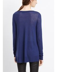 VINCE | Blue Wool Blend Wrap Seam Sweater | Lyst