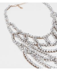 Zara | Metallic Long Necklace With Transparent Crystals | Lyst