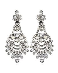 Elizabeth Cole | Metallic Navette And Oval Chandelier Earrings | Lyst