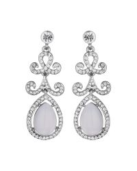 Mikey | White Oval Stone Drop Design Earring | Lyst