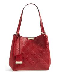 Burberry - Red 'small Cantebury' Check Embossed Leather Tote - Lyst