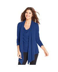 Ellen Tracy | Blue Long Sleeve Draped Cardigan | Lyst