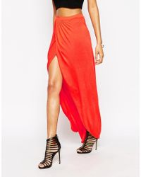 ASOS | Red Wrap Maxi Skirt In Jersey | Lyst