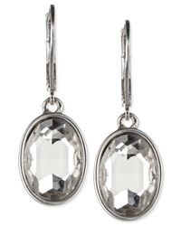 Nine West | Metallic Silver-tone Crystal Oval Drop Earrings | Lyst