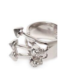 Alexander McQueen - Metallic Twin Skull Stud Ring - Lyst