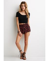 Forever 21 - Red Rose Print Chiffon Shorts You've Been Added To The Waitlist - Lyst