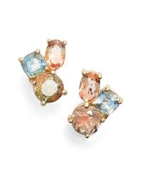 Mociun | Blue Oregon Sunstone & Sapphire Cluster Earrings | Lyst